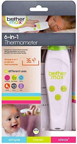 brother max® 6-in-1 Baby Thermometer - Projection Digital Thermometer, Non-Contact, Silent and Easy to Use, Accurately Measure Temperature of a Room, ...