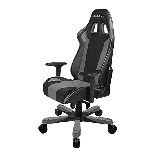 DXRacer King series OH/KS06/NG Large size Seat Office Chair Gaming Ergonomic with - Included Head and Lumbar Support Pillows (Black/Gray) by DX Racer