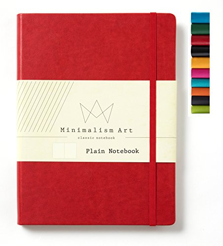 (Minimalism Art, Classic Notebook Journal, A4 Size 8.3 X 11.4 inches, Plain Blank Page, 192 Pages, Hard Cover, Fine PU Leather, Inner Pocket, Quality Paper-100gsm, Designed in San Francisco (Red))