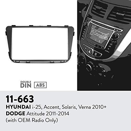 UGAR 11-663 Trim Fascia Car Radio Installation Mounting Kit for Hyundai i-25, Accent, Solaris, Verna 2010+ / Dodge Attitude 2011-2014