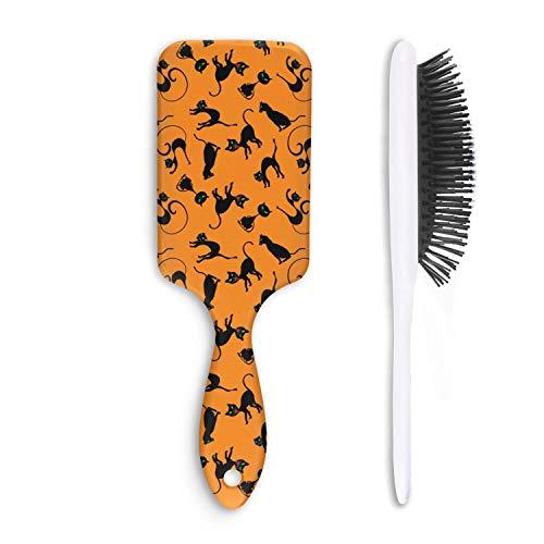 Unisex Detangle Hair Brush Black Cats Bengal Cat Orange Background Boar Bristle Paddle Hairbrush for Wet, Dry, Thick, Thin,Curly hair