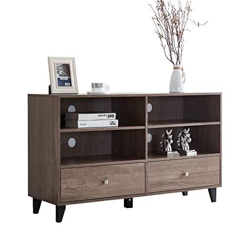 Soges Storage Cabinet Kitchen Sideboard Buffet Table Server Cabinet Cupboard with Drawers & Shelves Display Cabinet, Salt Oak HHGZ008-GO
