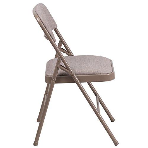 Flash Furniture Hercules Series Triple Braced Fabric Upholstered Metal Folding Chair, Beige