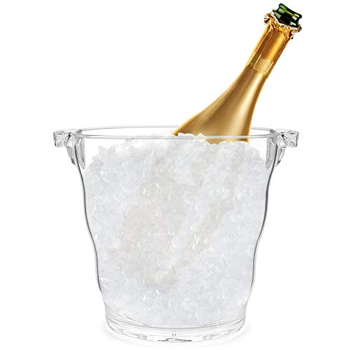 Round shape Acrylic Ice Bucket with Handle | Great Ice Container for Parties, Home, Bar | Compact Beverage Champagne Cooler | Wine Chiller | 3.6 Quart Capacity
