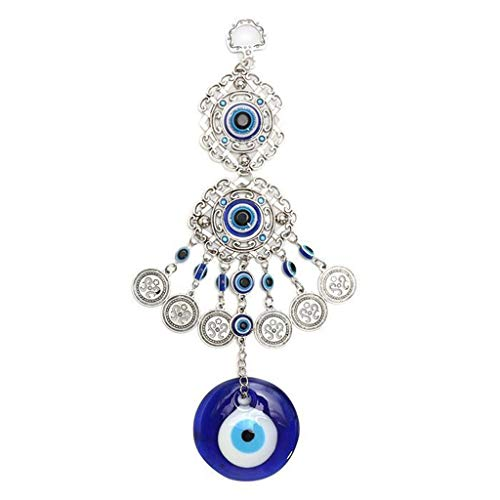 in/Outdoors Wind Chimes Wind Chimes Turkey Evil Eye Pendants Amulet Home Wall Hanging Decor Blessing Protection Gift Dream Catcher Home Garden Wind Chimes (Color : Blue)