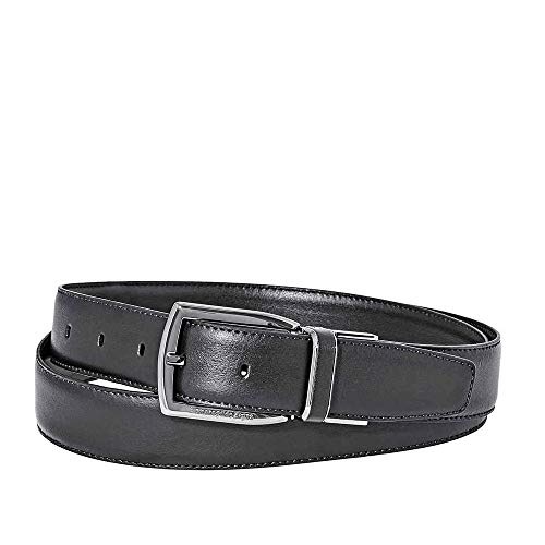 Ermenegildo Zegna XXL Reversible Men's Leather Belt- Dark Brown 43