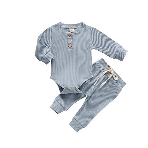 MCVN Pasgeboren Baby Jongens Pyjama Lange Mouw Romper Broek Outfits Baby Geribbelde Herfst Winter Warme Kleding