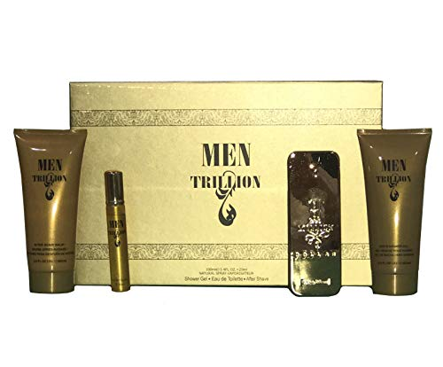 Bouquet Perfume MEN TRILLION, Inspired by 1 MILLION by PACO RABANNE, 4 Pcs Men's Gift Set (Eau De Toilette, Shower Gel, After Shave), Perfect Gift, Spontaneous, Daytime and Casual ()