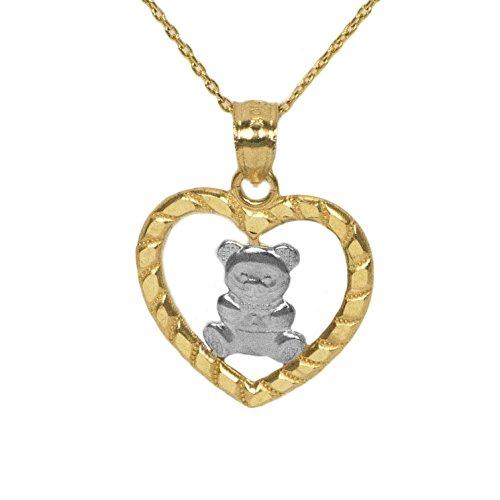 14k Yellow Gold Teddy Bear Necklace (Hugs 14k Yellow)