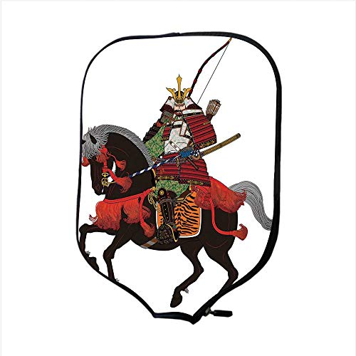 - Neoprene Pickleball Paddle Racket Cover Case,Japanese,Shogun Wearing Armour with Arrow on Prancing Horse Courage Warfare Illustration,Brown Green,Fit for Most Rackets - Protect Your Paddle