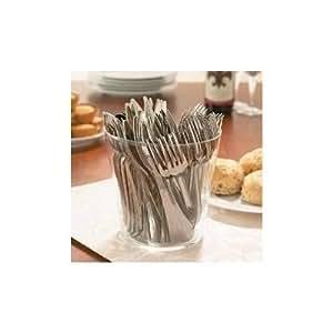 Party - Conjunto de cubiertos desechables (144 piezas, incluye tenedores, cuchillos y cucharas, plástico), color plateado