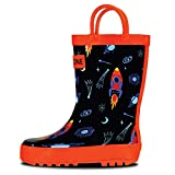 LONECONE Rain Boots with Easy-On Handles in Fun Patterns for Toddlers and Kids, Rocket Launch, 8 Toddler
