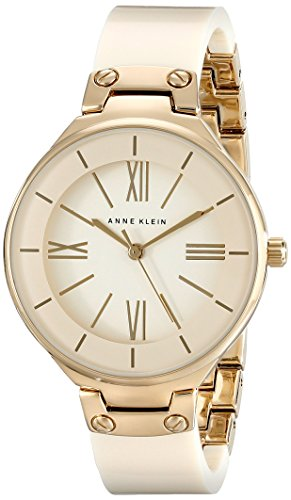 Anne Klein Womens AK1958IVGB Gold-Tone and Ivory Resin Bangle Watch