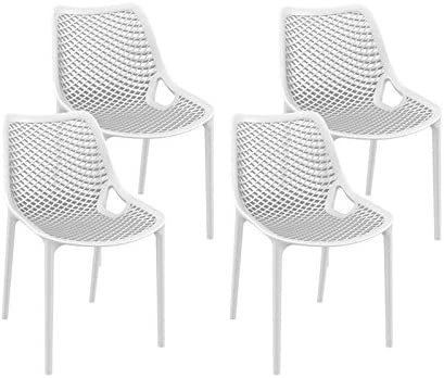 resol set de 4 sillas de diseño Grid para interior, exterior, jardín - color blanco: Amazon.es: Jardín