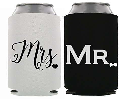HHoliday Mr. & Mrs. Can Coolers Engagment Gift Bridal Shower Gift