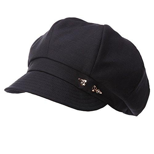 Women's Classic Visor Beret Newsboy Cabbie Cap Summer Gatsby Adjustable Cozy Black Hat