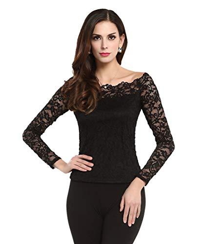 Womens Boat Neck Floral Lace Off Shoulder Long Sleeve Shirt Top (XL, Black)