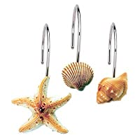 Seashell Shower Curtain Hooks Bathroom Beach Shell Decor (Set of 12)