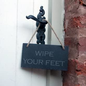 Slate Hanging Sign WIPE YOUR FEET
