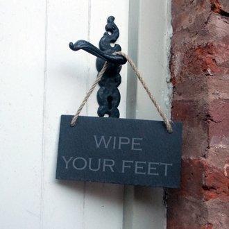 Señal para colgar Slate para toallitas húmedas tus pies