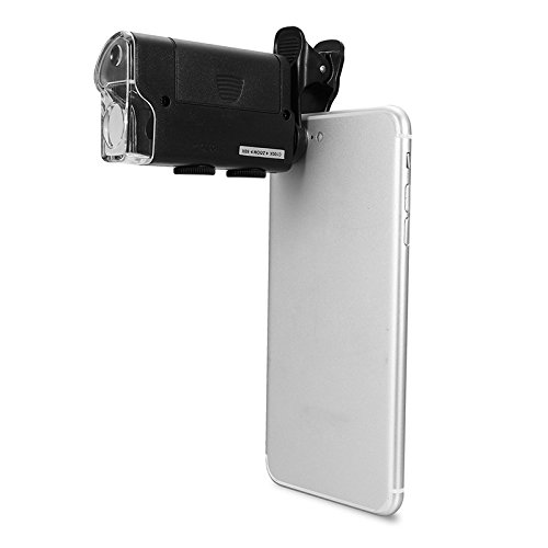 (Hangang Universal Clip LED Zoom 60X-100X Pocket Microscope Magnifier for Cellphone UV Currency Detectting Biology Jewelry Appraisal Microscope)