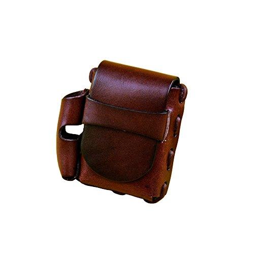Rochid Vintage Handmade Genuine Leather Women  Men's Cigarette Lighter Combo Box Case Small Fanny Pack Waist Bag (Wine)