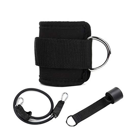 Weiy 3 piezas banda elastica para el tobillo, accesorios de cuerda de traccion para entrenamiento muscular de piernas, Metal + latex + tela , negro, As Descrip