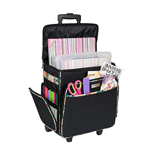 Everything Mary Black & Floral Rolling Scrapbook Storage Tote - Scrapbooking Storage Case for Rings, Paper, Binder, Crafts, Beads, Paper, Scissors - Telescoping Handle with Dual Wheels - Craft Case (Florals Scrapbooking)