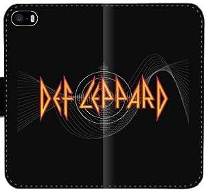 Caja del cuero de Def Leppard V8S2H Funda iPhone 4 4S Funda caso del tirón del teléfono 1y24OE personalizada Funda Activo