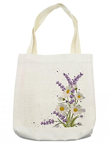 Lunarable Lavender Tote Bag, Vivid Bouquet with Daisies Color Slashes Scenic Modern Artistic, Cloth Linen Reusable Bag for Shopping Groceries Books Beach Travel & More, Cream -
