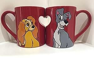 Disney Parks Lady and the Tramp Romantic Heart Ceramic Mug Set of 2 Love by Disney