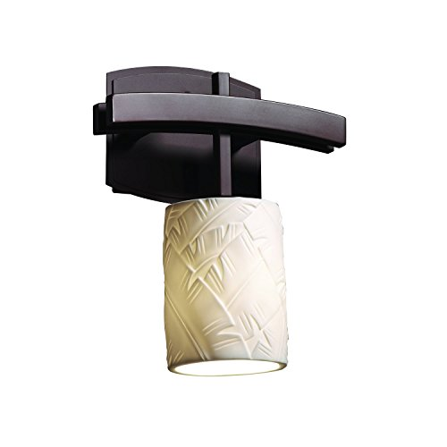 Justice Design Group - Limoges Collection - Archway Wall Sconce - Cylinder with Flat Rim - Dark Bronze Finish with Banana Leaf Shade