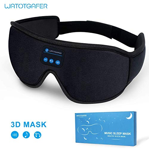 Sleep Headphones, Bluetooth 5.0 Wireless 3D Eye Mask 2019 Updated, WATOTGAFER Sleeping Headphones for Side Sleepers, Washable Travel Music Play Adjustable Speakers Microphone Handsfree Long Play Time