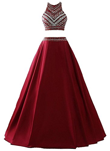 2 Piece Satin Dress (Himoda Women's Two Pieces Beaded Evening Gowns Satin Sequined Prom Dresses Long H052 14 Burgundy)
