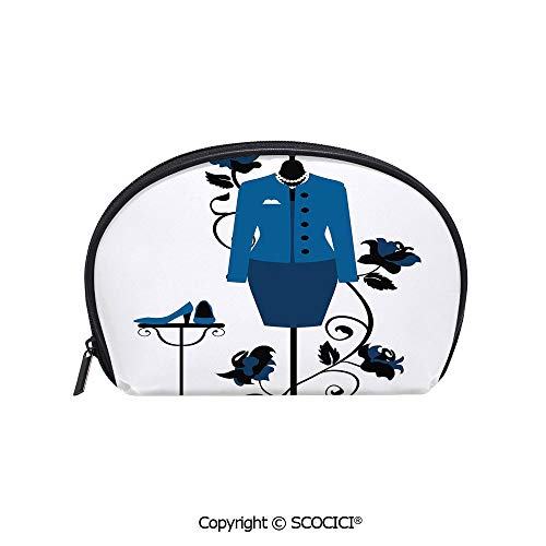 SCOCICI Polyester Printed Cosmetic Bag Storage Bag Mannequin in Tailors Shop with Blooming Flower Retro Classical Decorative Makeup Bag Toiletry Pouch