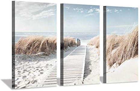 Hardy Gallery Beach Path Picture Coastal Artwork  Seaside Boardwalk Painting Art Print on Canvas
