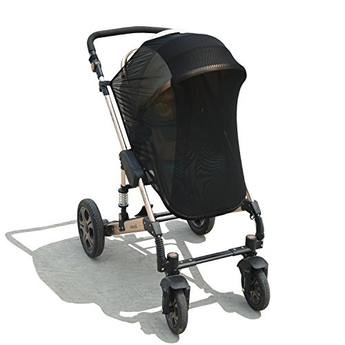 Stroller Cover Sun Canopy Extender Car Seat Sun Shade for Baby Strollers, Pushchairs, Prams and Buggies (Black)
