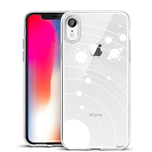 - Unov Case Clear with Design Slim Protective Soft TPU Bumper Embossed Pattern [Support Wireless Charging] Cover for iPhone XR 6.1 Inch(White Universe)