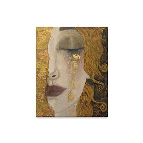 InterestPrint Canvas Wall Art Golden Tears by Gustav Klimt Abstract Painting Reproduction Wood Framed Canvas Print Modern Artwork for Home Decoration Wall Decor,16 x 20 Inches ()