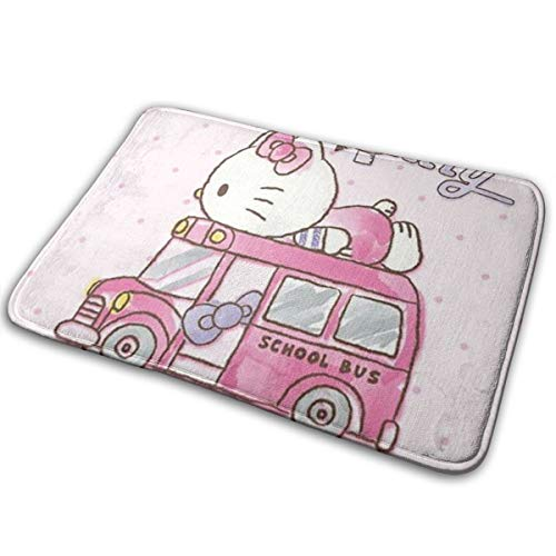 (MOANDJI Kitchen Floormat Hello Kitty School Bus Indoor Carpet Rug for Bathroom/Kitchen/Balcony & Etc 16 X 24 Inch)