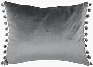 Funda de terciopelo con relleno de lujo para todos los niños, color gris oscuro y pompón supersuave, 43 x 33 cm