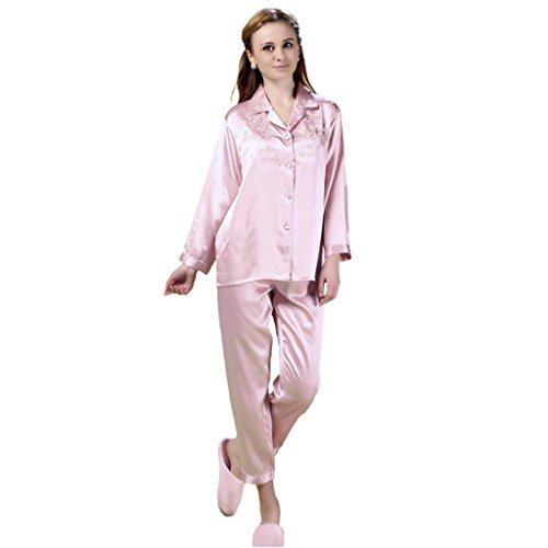 (Sleepwear Forever Angel Women's Pure Silk Pajamas Luxury PJs Gift Dusky Pink S)