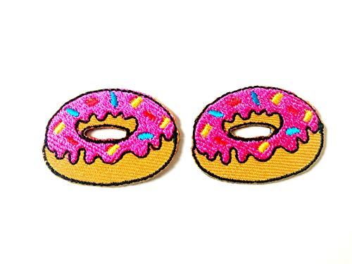 Tyga_Thai Brand Set 2 pcs. Mini Strawberry Pink Doughnut Cute Food Jacket T-Shirt Sew Iron on Embroidered Applique Badge Sign Patch (Iron-Mini-Doughnuts)