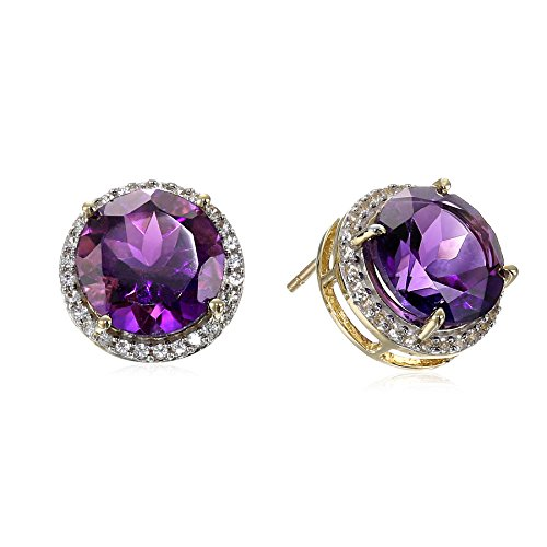 10k Yellow Gold Amethyst and Created White Sapphire Stud Earrings