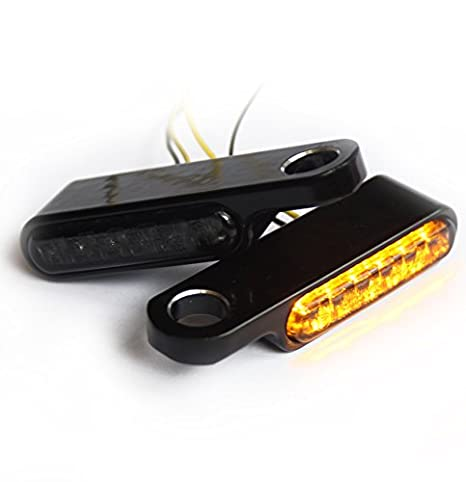 Iron Optics Clignotants à LED pour moto avec support de clignotant pour l'armature du guidon