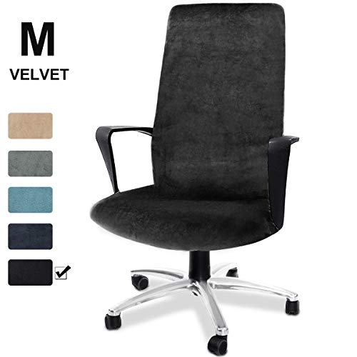 CAVEEN Computer Office Chair Cover Stretch Velvet Fabric Rotating Chair Slipcovers Removable Washable Anti-dust Chair Seat Covers Furniture Protector Covers Black Medium