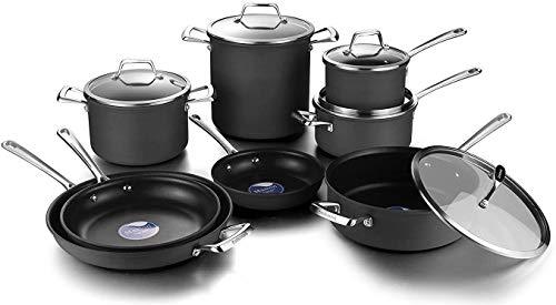 LOVE PAN 13 Piece Hard Anodized Aluminum Pots and Pans Set-Non-Stick Ceramic Induction Cookware Set with Glass Lids…