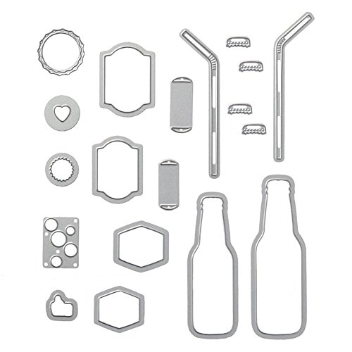 UanBO9wykh Cutting Die (●_●), 19Pcs/Set Metal Bubble Drink Bottle Straw Cutting Die for Scrapbooking DIY Craft for Card Aking Paper Crafts Themed Invitations Album Decoration Photo Frame