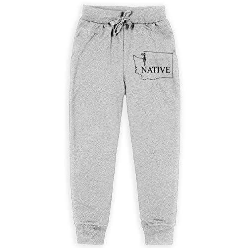 (Men's Athletic Sweatpant, 100% Cotton Washington State Native Jogger Pants for Youth Gray)
