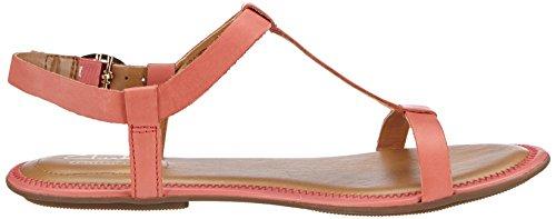 Clarks Risi Hop - sandalias abiertas de cuero mujer rojo - Rot (Coral Leather)